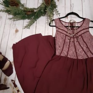 Exhilaration floor length mauve lace and maroon dr
